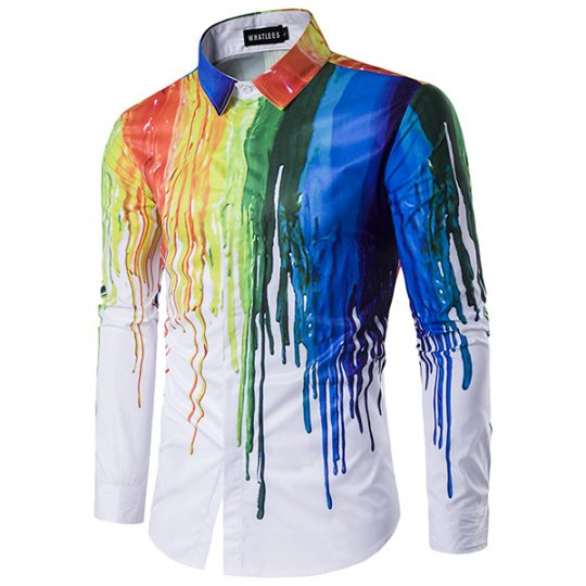 Men's 3D Printing Long Sleeve Casual Slim Fit Shirt