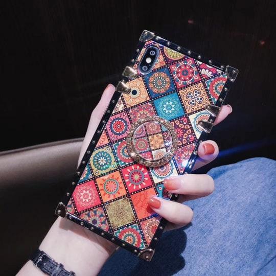 Ethnic style sub-blue ring bracket mobile phone case