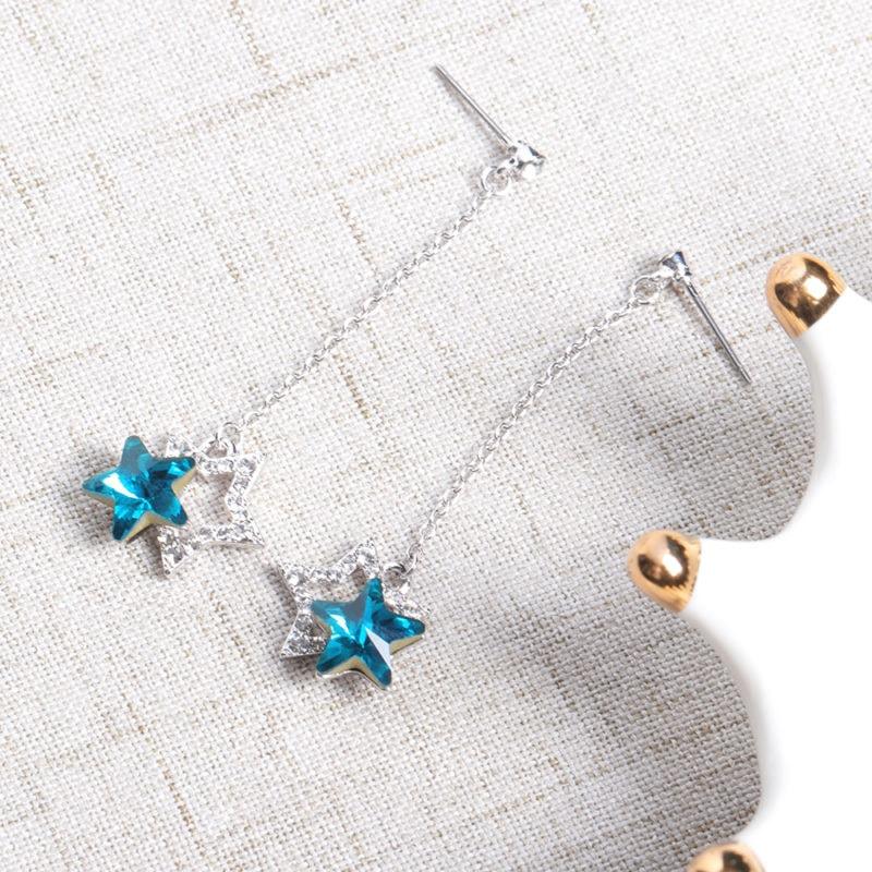 Fashion Blue Purple Stars Dangle Earring Crystal Rhinestones