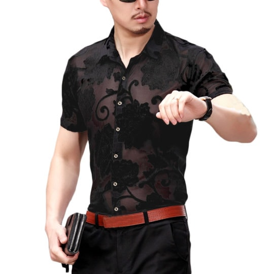 INCERUN Summer Thin Leisure Man Shirt Mens Hollowing Out Printed Stand Collar Cotton Short Sleeve Business Shirt