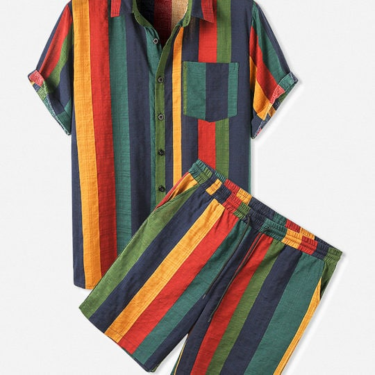 Mens Cotton Colorful Stripe Patch Pocket Breathable Short Sleeve Shirt & Shorts Co-ord