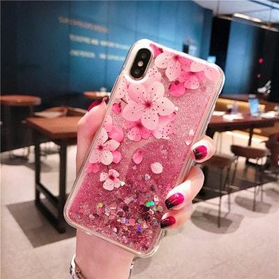 Flamingo liquid quicksand phone case