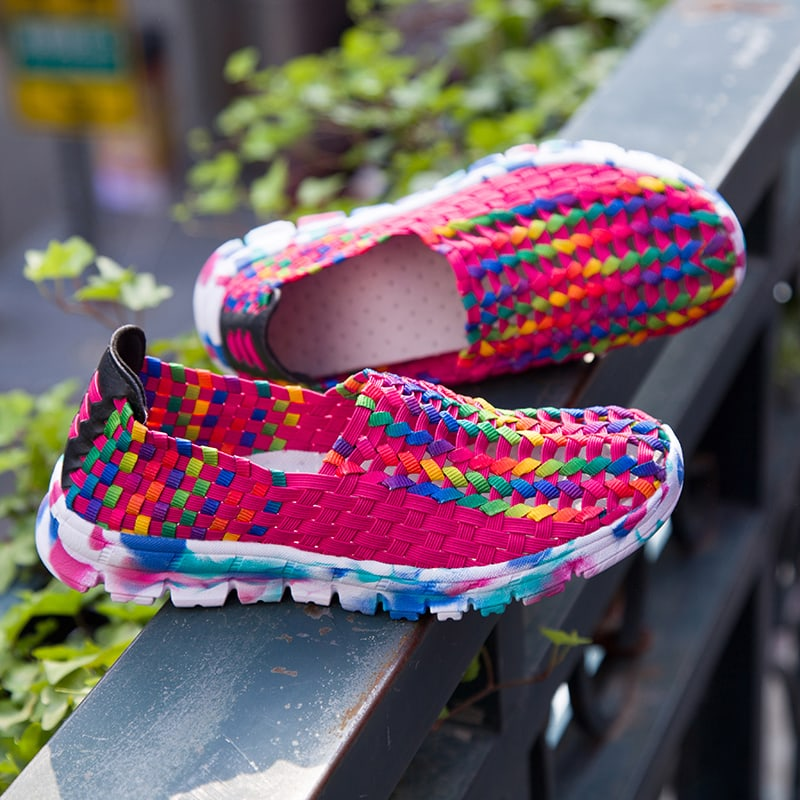 Summer US Size 5-10 Women Hand Woven Breathable Net Hollows Casual Beach Flats Mixed Colors Shoes