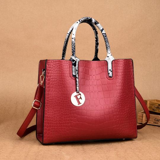 Women Elengant Large Capacity Handbag Crocodile Pattern Toe