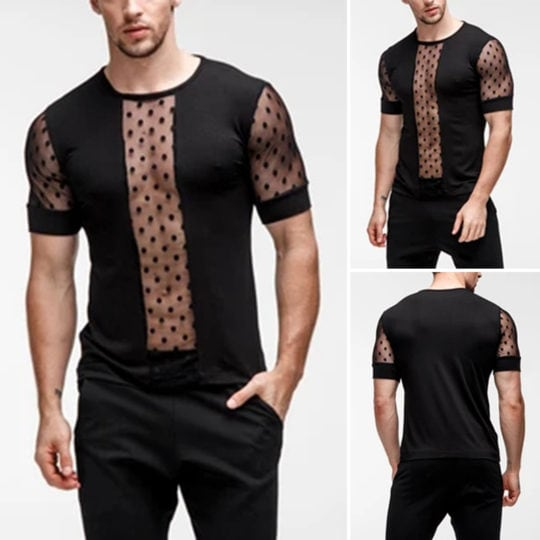 Men's Short Sleeve Perspective See Through Shirts Slim Sports Casual Tops