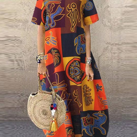 Women Retro O-neck Short Sleeve Loose Baggy Print Maxi Dress