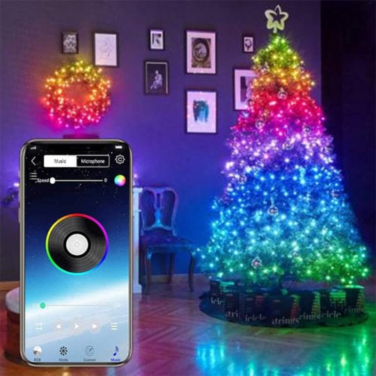 2020 Christmas USB Fairy Lights LED String Lights Music Sync Bluetooth APP Phone Indoor Outdoor Twinkle Lights 32.8FT Hanging Curtain String Lights Color Changing Starry Lights